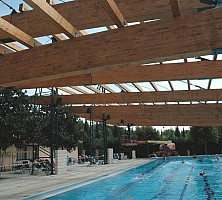 Construction of the roof of the swimming pool at the Cercle Sportif